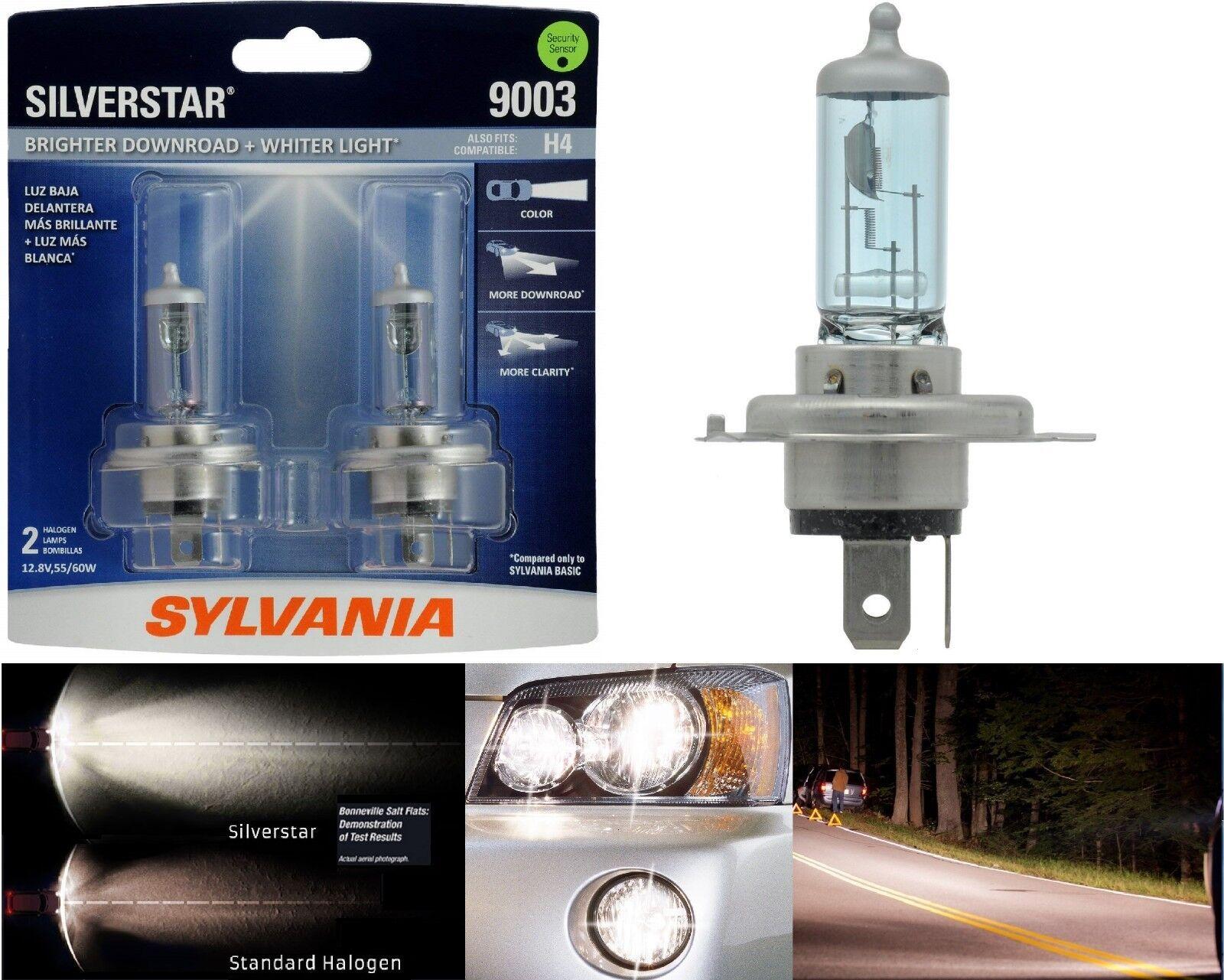 Sylvania Silverstar 9003 HB2 H4 60/55W Two Bulbs Head Light Replace Snowmobile
