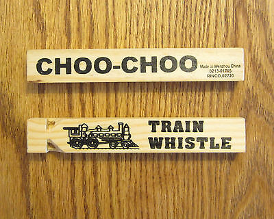 "3 NEW WOODEN TOY TRAIN WHISTLES 6"" WOOD LOCOMOTIVE RAILROAD CHOO CHOO WHISTLE"