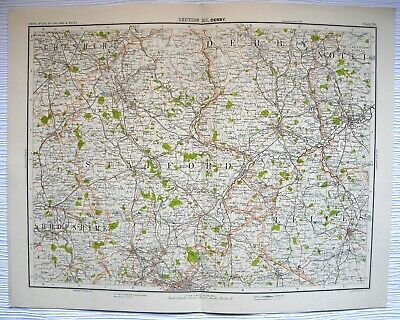 DERBY Map plate C1900 Bartholomew Royal Atlas Of England/Wales (From Atlas)