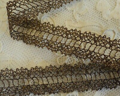 """3/4"""" OLDE GOLD METALLIC DOUBLE BORDER LACE - BEADING FOR RIBBON  for sale  Shipping to India"""