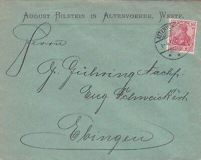ALTENVOERDE, Briefumschlag 1905, August Bilstein