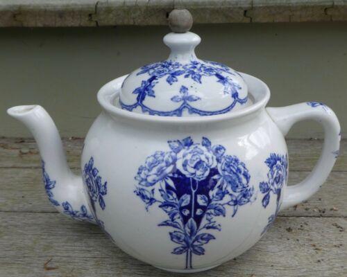 1914 Buffalo Pottery Restaurantware Teapot w Tea Ball Chain Argyle Floral PR8