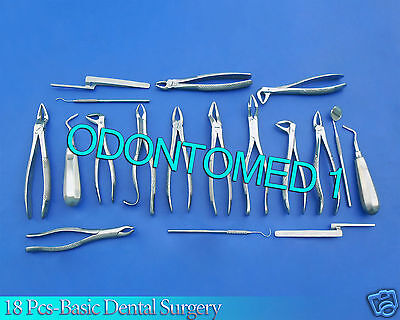 18 Pcs-basic Dental Surgery Extracting Forceps Elevators Instruments Set