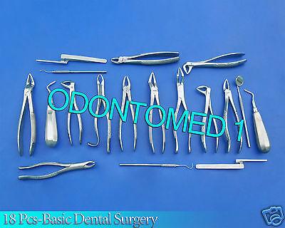 18 Pcs-basic Dental Surgery Extracting Forceps Elevators Instruments Set