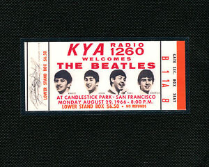 The Beatles 1966 Concert Ticket Candlestick Park San Francisco, CA 8/29/1966-A