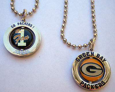 Green Bay Packers Spinner Logo/#1 Fan Charm Necklace - NFL Licensed Jewelry