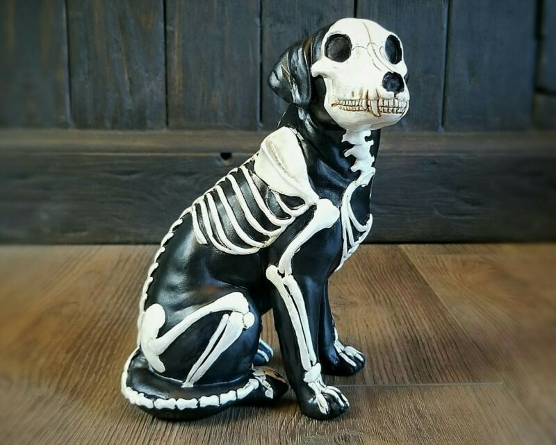 Skeleton Dog Statue, Day of the Dead Dog, Gothic Decor, Halloween Dog, Oddities