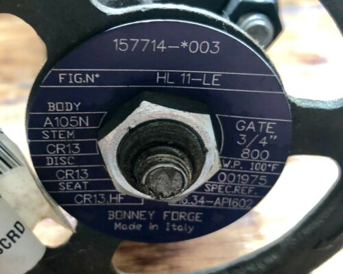 """3//4/"""" 800 A105N BODY BONNEY FORGE FORGED STEEL GATE VALVE HL 11-LE"""