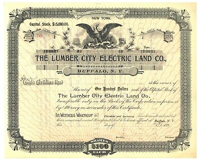 Lumber City Electric Land Company. Stock Certificate. Buffalo, New York](Party City Buffalo)