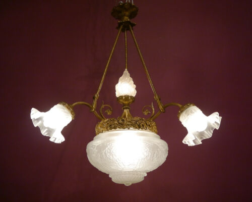 "CLASSIC ANTIQUE BRASS LAMP CHANDELIER OLD 5 LIGHT LUSTRE BRONZE FIRE GLASS Ø 24"""