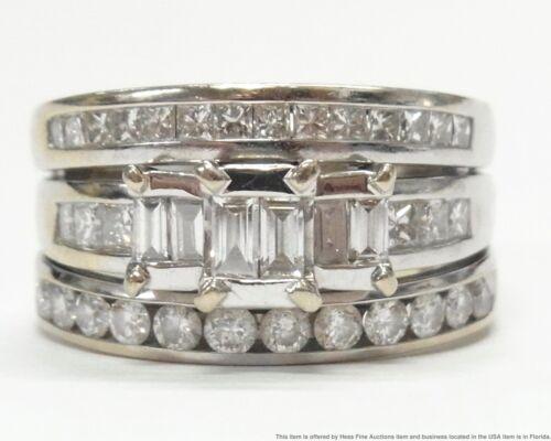 2.75ctw Fine White Diamond 14k White Gold Ring Engagement Wedding Wide Band 11gr