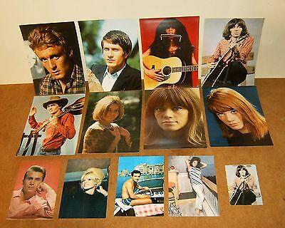 11 anciennes cartes postales photos + 2 photos - vedettes des années 60's yé yé
