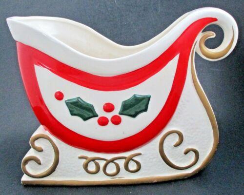 VTG 1960Japan LARGE Holt Howard HH Ceramic Sleigh Christmas Centerpiece Planter