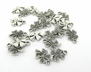 30 Four Leaf Clover Good Luck Charms Silver Tone   J01309