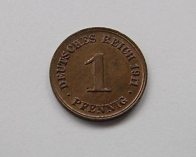 KAISERREICH: 1 Pfennig 1911 D, J. 10, stempelglanz, TOLLER MÜNZGLANZ !!!