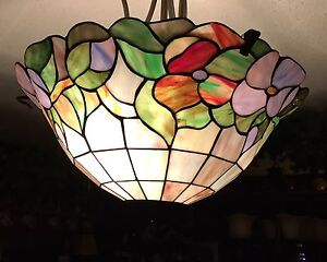 """Beautiful stained glass ceiling light 19"""" in diameter"""
