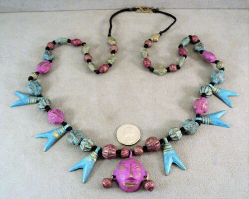 """Vtg Tribal NAGA Brass Face & Bead Painted NECKLACE 35"""" Purple Blue INDIA -Estate"""