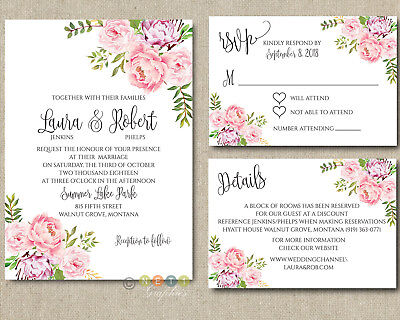 Personalized Peony Floral Wedding Invitations Suite with Envelopes ](Floral Wedding Invitations)