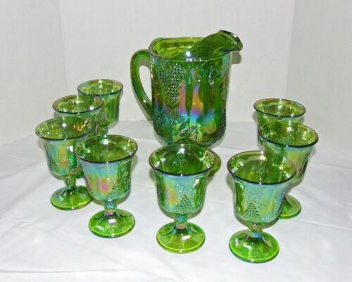 Indiana Harvest Grape Green Carnival Glass Iridescent Pitcher & 8 Glasses