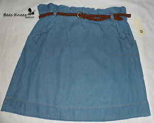 RIVER ISLAND Light Blue Denim Cotton Bow Design Skirt - Size 16 - New (C192)