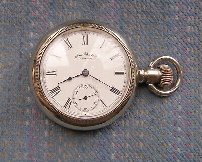 18S Waltham 15J Frosted Plate Open Face Nickel Pocket Watch Serviced!