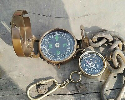 Solid Brass Nautical British Military Prismatic Pocket Compass Vintage Gift 2