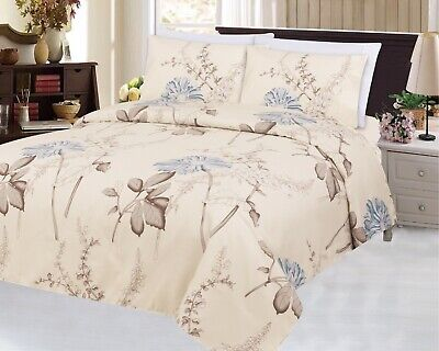 Bamboo Wrinkle Free Soft 3 Piece Duvet Cover Set Blue Chrysanthemum Flower (Bamboo Blue)