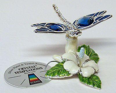 4353 Silber Libelle mit Lilie emailliert Swarovski Steine Kristall Crystal 9cm