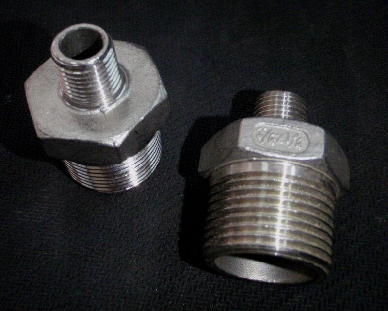 "STAINLESS STEEL REDUCER NIPPLE 3/4"" x 1/4"" NPT PIPE RN-075-025"