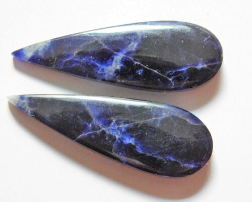 39.00 Cts Natural Sodalite (41.3mm X 13.9mm each) Cabochon Match Pair