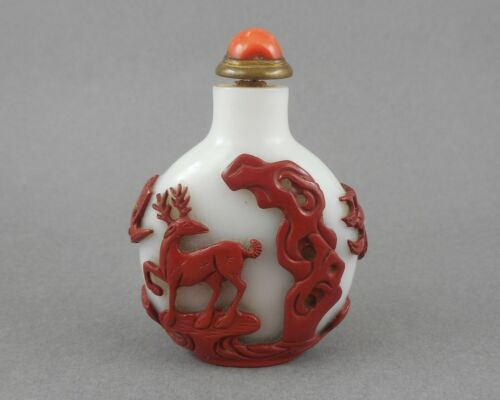 Antique Chinese Qing Dynasty Peking Glass Snuff Bottle Red White Carved Overlay