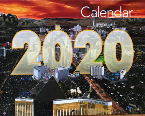 2020 14 Month Las Vegas Strip Hotels Wall Calendar Casino Bellagio Flamingo MGM