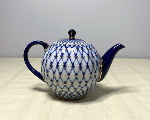 """Russian Imperial Lomonosov Porcelain Teapot """"Cobalt Net"""", Excellent"""