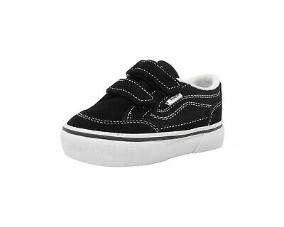 VANS Bearcat V Strap Black White Suede Canvas Toddler Baby Infant Kid Shoes
