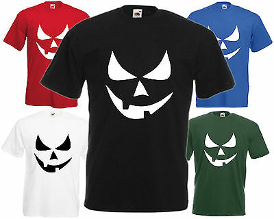 Scary Smiley Face Pumpkin Eyes Halloween T Shirt Funny Top Fancy Dress Party Tee](Scary Halloween Smiley Faces)