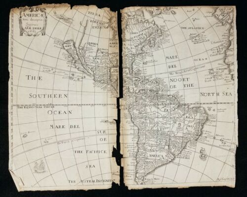 Antique Original 1661 Map of AMERICAE Rob Vaughan for ANAE SEILE as is