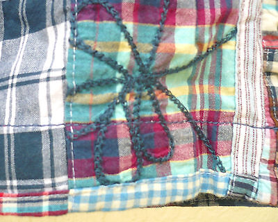 MADRAS PLAID M L PATCHWORK SKIRT HALLOWEEN SPIDER LOOK HIPPIE PATCH MINI WOMEN - Hippie Halloween Look