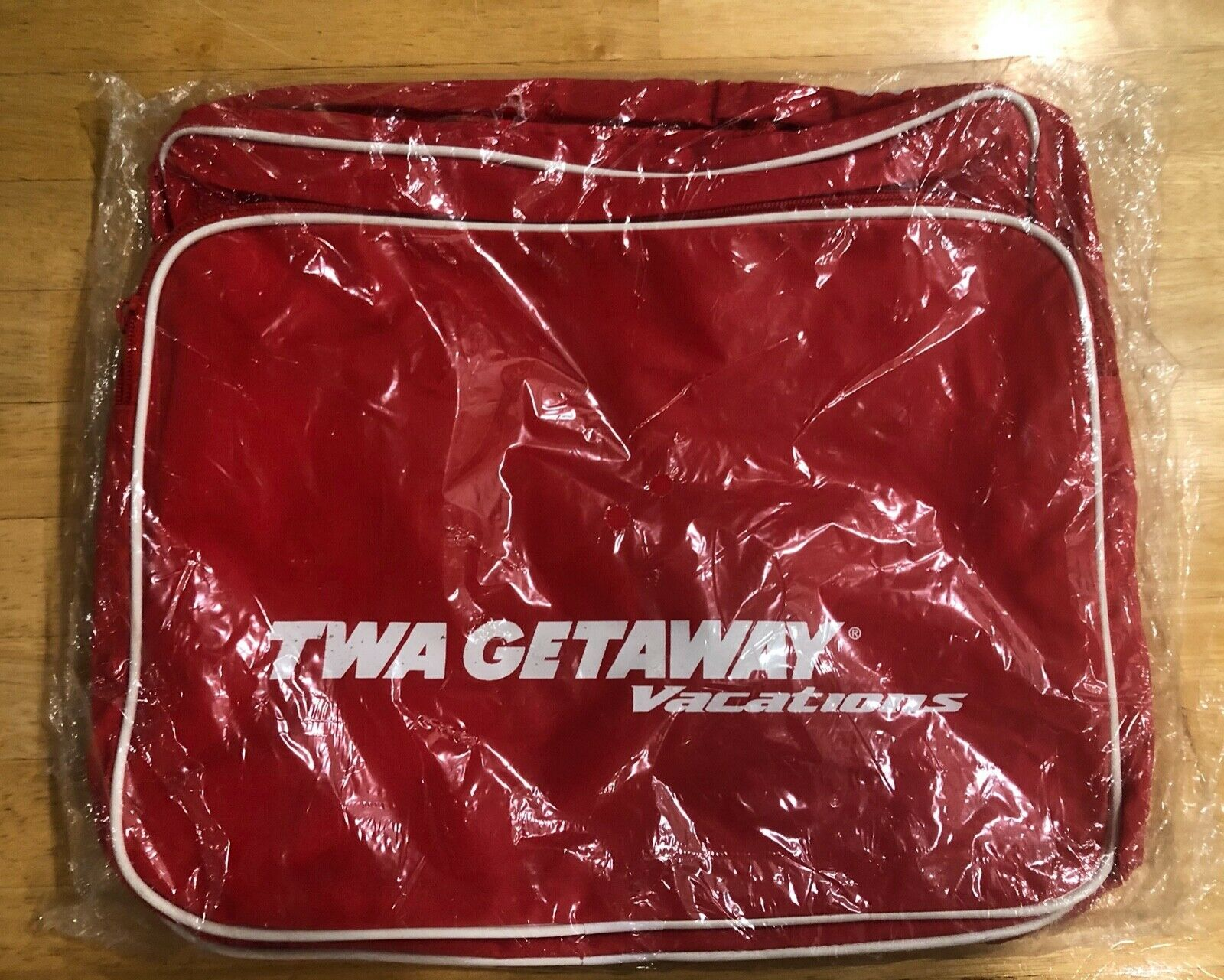 Vintage TWA Getaway Vacations Red Carry On Travel Bag With Shoulder Strap  - $50.00