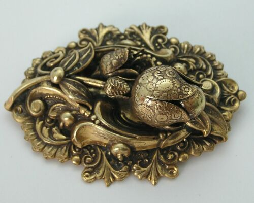 """Stunning 2-3/4""""x2"""" Victorian Repousse Multi Layer Tulip Flower Floral Pin Brooch"""