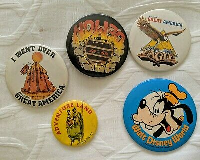 VINTAGE 1980s Walt Disney World GOOFY Great America BADGE BUTTON PINS Lot of 5
