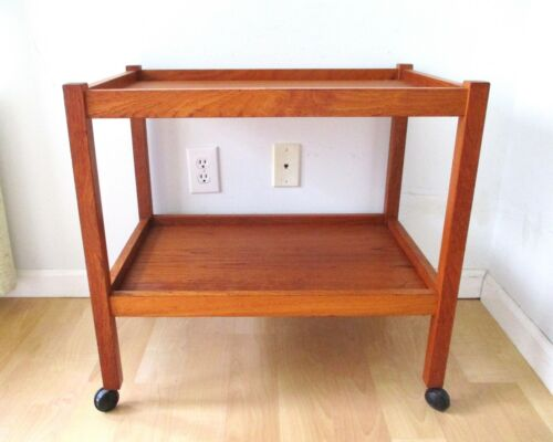 Danish Modern Wood Rolling Bar Serving Cart Two Tier Made in Denmark MCM