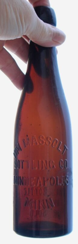 WM MASSOLT AMBER BLOB TOP WEISS BEER OR SPLITS BOTTLE CA 1890  SCARCE