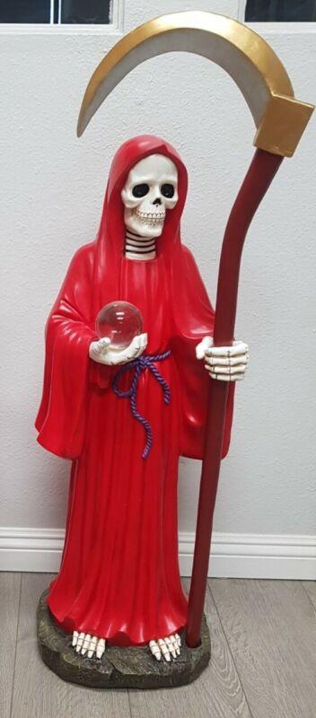 """Santa Muerte 40"""" Inch Statue Holy Death Grim Reaper Skull Skeleton (Red color)"""