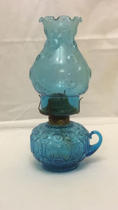 "Vintage Light Blue 12"" Oil Lamp"