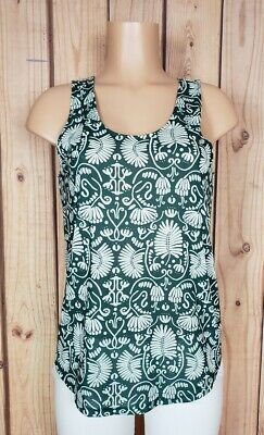 H&M CONSCIOUS Womens Size Small Sleeveless Shirt Floral/Leaf Green Poly Top