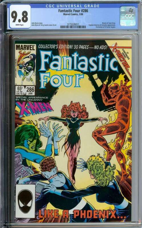 FANTASTIC FOUR #286 CGC 9.8 WHITE PAGES // RETURN OF JEAN GREY 1986