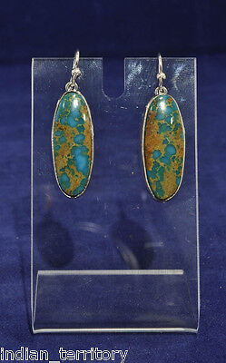 Navajo Indian Blue and Green Turquoise with Copper Matrix Earrings