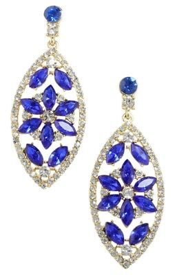 (NEW Navette Cobalt Blue and Clear Crystal Flower Dangle Drop Goldtone Earrings)