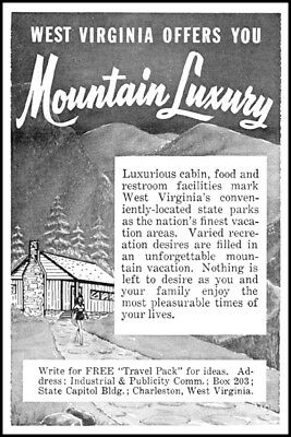 1959 West Virginia travel mountain luxury cabin rentals art Print Ad  ads21 for sale  Seymour