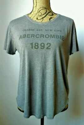 Abercrombie & Fitch Women's Grey Short Sleeve TShirt Top Graphic Logo Shirt M